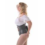 Vixen leather W/cincher Corset with red straps